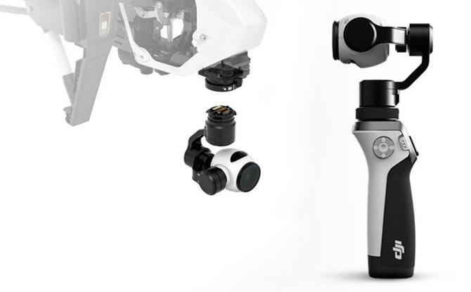 Inspire 1's kamera kan tages af og monteres på håndholdt gimbal