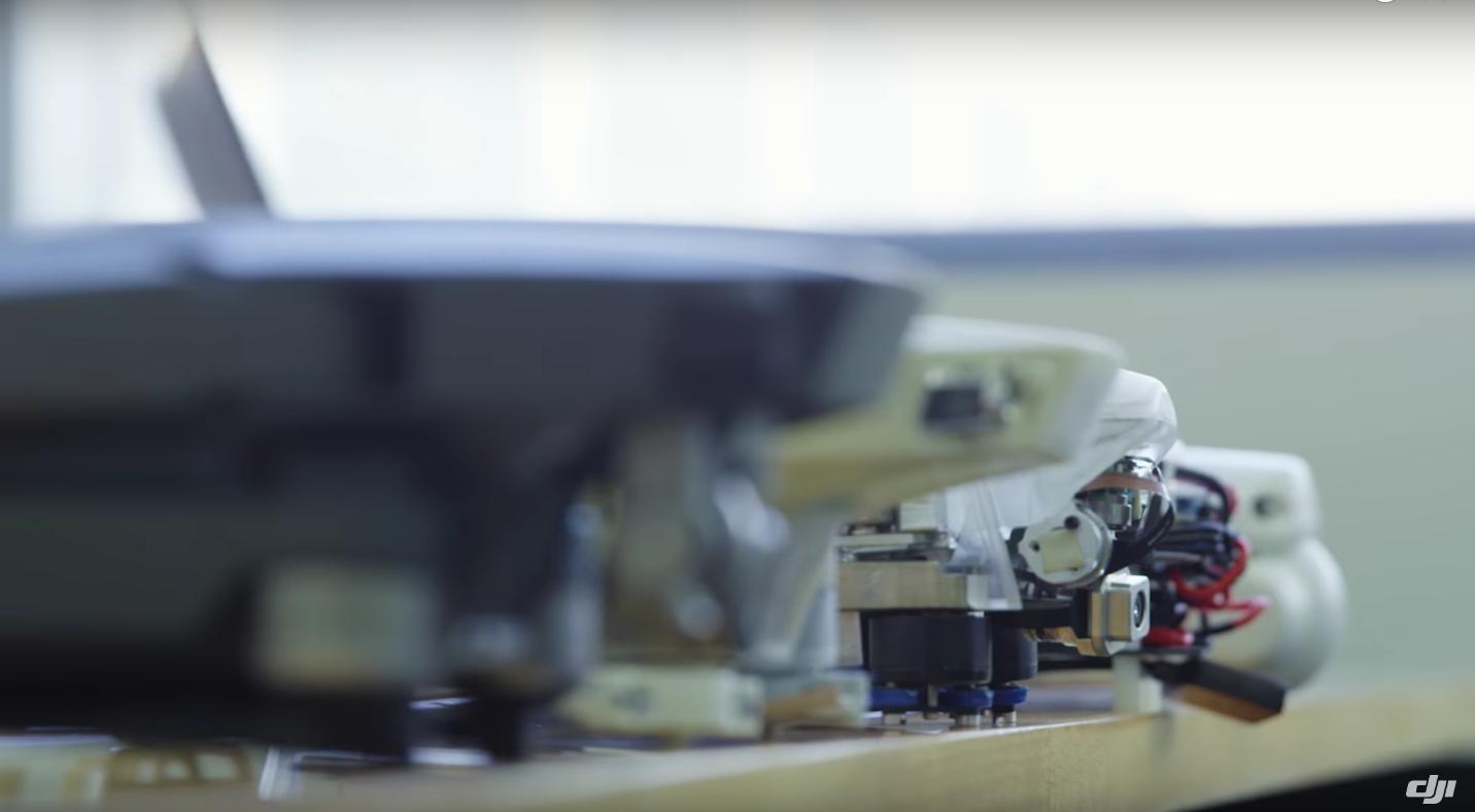 En række DJI MAVIC Pro prototyper